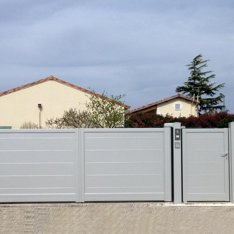 Portail 2 vantaux cetal multiclot cl tures et portails - Portail coulissant 2 vantaux ...