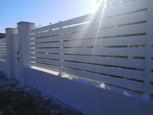 Portail deux vantaux en aluminium + Clôture lisse