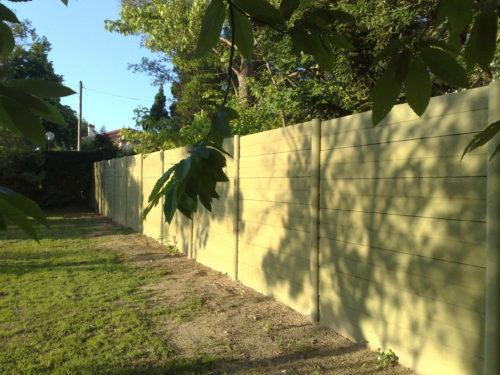 Clôture Plaques imitations bois ton vert